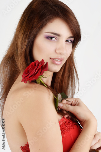 tender girl with rose