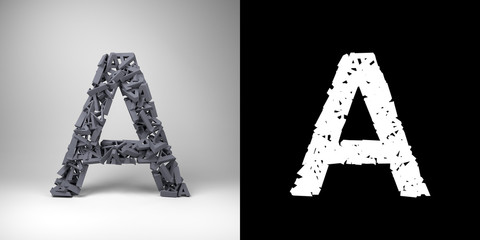 Letter A  with alpha matte for easy isolation