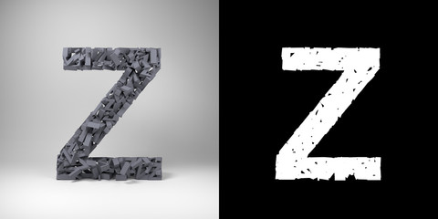Letter Z with alpha matte for easy isolation