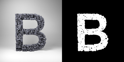 Letter B with alpha matte for easy isolation