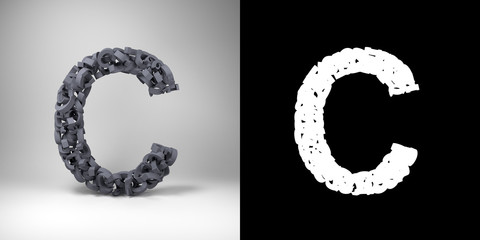 Letter C with alpha matte for easy isolation