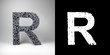 Letter R with alpha matte for easy isolation