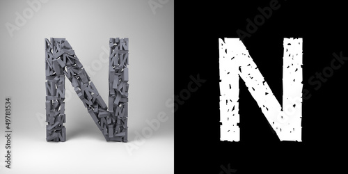 Letter N with alpha matte for easy isolation