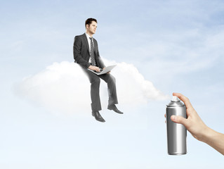 man sitting on cloud
