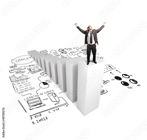 businnesman standing on column with drawing concept