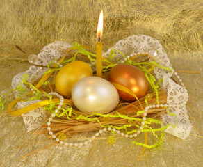 Golden easter egg with candle_2