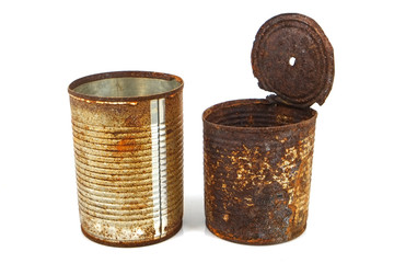 Rusty tin can isolated on white