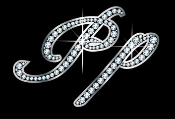 Script Diamond Bling Pp Letters