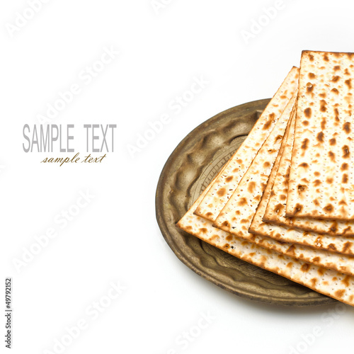 Matzo for passover seder celebration on white background