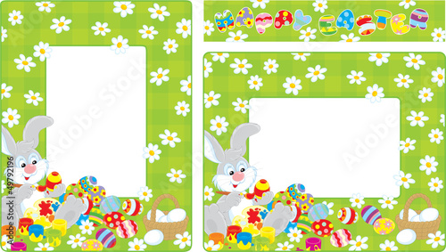 Easter borders with Bunny coloring Easter eggs