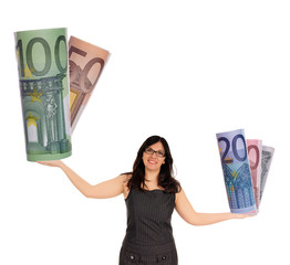Business Woman with euro money
