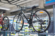 Bicicles examples on stands in sport store