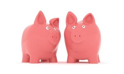 2 Sparschweine vor weissem Hintergrund