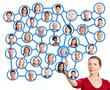 Frau zeigt auf Person im sozialen Netzwerk