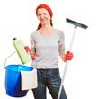 Frau macht Frühjahrsputz mit Reinigungsmitteln
