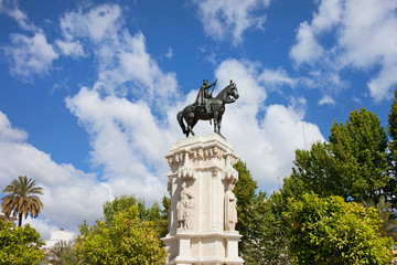 Monument on Plaza Nueva in Seville