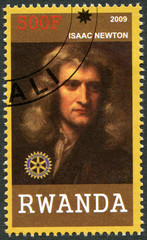 RWANDA - 2009: shows portrait of Isaac Newton (1642-1727)