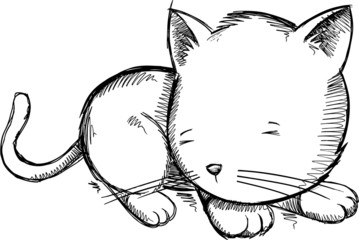 Sketch Kitten Cat Vector Illustration Art