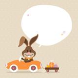 Bunny Car Speech Bubble Beige Dots