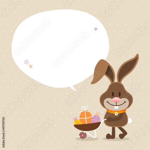 Bunny Wheelbarrow Speech Bubble Beige Dots