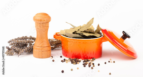 various spices in pot  isolated on white