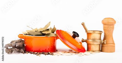 various spices in ceramic pot  isolated on white
