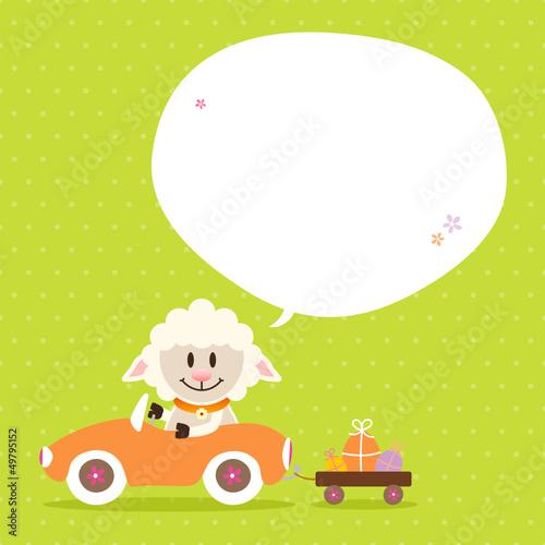 Sheep Car Speech Bubble Green Dots