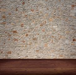 Innenaufnahme mit Steinmauer