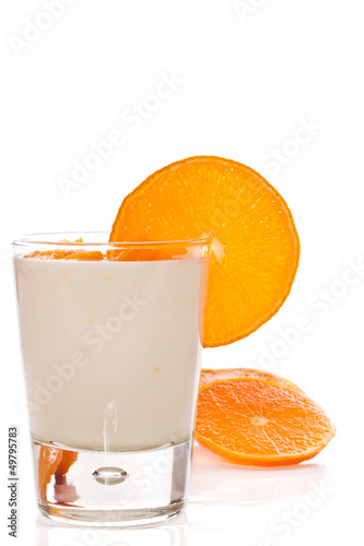 milk yogurt with oranges
