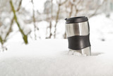 Fotoroleta Heat protection-thermos coffee cup on winter day