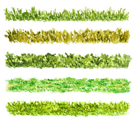 Grass Border Pieces, Watercolor Painted, Isolated on White
