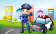 A policeman with a police car along the street