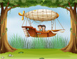 An airship at the forest