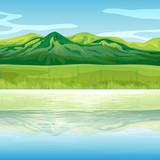 Fototapety A mountain across the lake