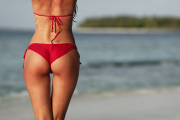 Sexy woman back on sea background