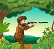 A boy with a gun inside the forest