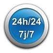 24 heures sur 24 7 sur 7 sur bouton bleu
