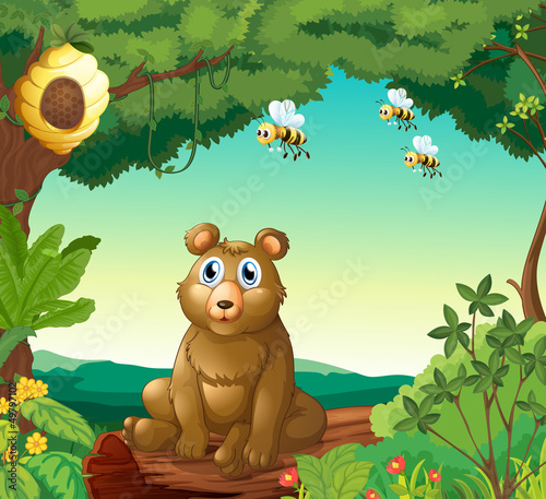 Plexiglas Beren A bear and the three bees in the forest