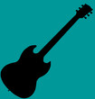 Guitar with blue background