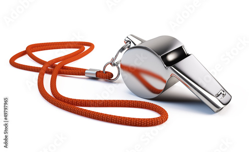 Metal whistle isolated on white