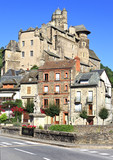 Estaing village in Southern France, landscape view