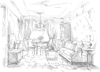 Hand drawing details of the interior
