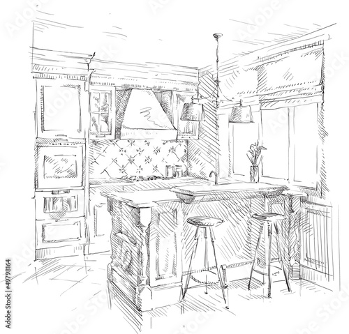 Hand drawing kitchen interior