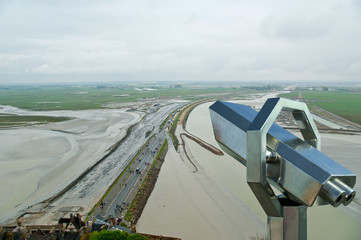 Telescope viewer and  View from Mont Saint-Michel, france