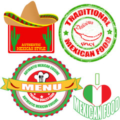 Set of authentic mexican food stamp and labels