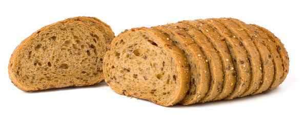 Rye bread on white background