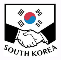 South Korea flag and business handshake, vector illustration