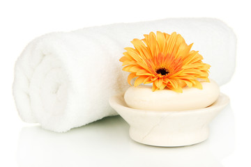 Rolled white towel, soap bar and beautiful flower isolated