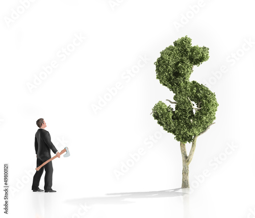Man with an axe looking at a dollar shaped tree
