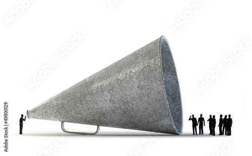 Leinwanddruck Bild Tiny people using a vintage megaphone